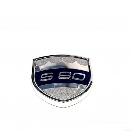 """Эмблема S80 """"корона"""" серебро Volvo"""